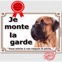 "Bullmastiff fauve Tête, plaque ""Je Monte la Garde"" 3 tailles LUX B"