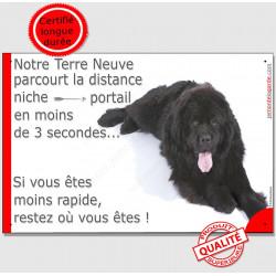 """Terre Neuve Noir couché, plaque """"distance Niche - Portail"""" 24 cm 3SEC"""