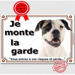"""Bouledogue USA Tête , plaque """"Je Monte la Garde"""" 2 tailles LUX B"""