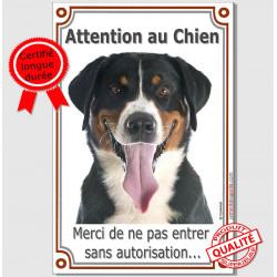 """Bouvier Suisse Tête, Plaque Portail verticale """"Attention au Chien, interdit sans autorisation"""" pancarte, affiche panneau"""