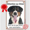 """Bouvier Suisse Tête, plaque verticale """"Attention au Chien"""" 24 cm Vlux"""