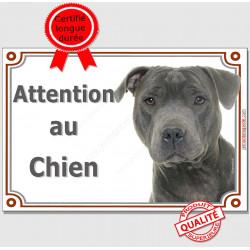 Staffie Bleu gris Tête, Plaque portail Je Monte la Garde, panneau affiche pancarte, risques périls staffy attention au chien