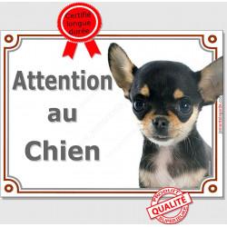 """Chihuahua Noir et Feu à poils courts tête, Plaque portail """"Attention au Chien"""" panneau affiche pancarte photo"""