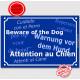 """Plaque de rue bleue """"Attention au Chien"""" multilingue 24 cm pour lieux accueillant des étrangers"""