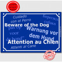 "Plaque bleue ""Attention au Chien"" multilingue 24 cm"