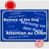 """Plaque bleue """"Attention au Chien"""" multilingue 24 cm"""