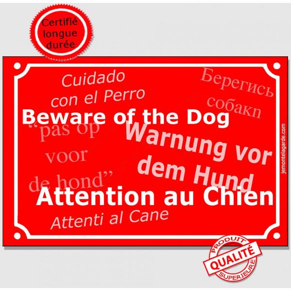 """Plaque de rue rouge """"Attention au Chien"""" multilingue 24 cm pour lieux accueillant des étrangers"""