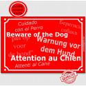 """Plaque rouge """"Attention au Chien"""" multilingue 24 cm"""