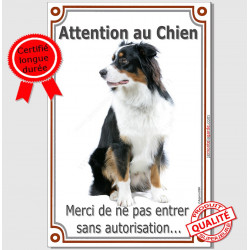 "Aussie assis, plaque verticale ""Attention au Chien"" 24 cm LUX A"