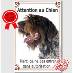 """Griffon Korthals Tête, plaque portail verticale """"Attention au Chien, interdit sans autorisation"""" pancarte panneau affiche photo"""