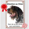 "Korthals Tête, plaque verticale ""Attention au Chien"" 24 cm LUX"