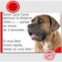 """Cane Corso fauve Tête, plaque """"distance Niche - Portail"""" 24 cm"""