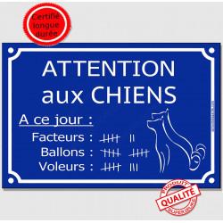 """Plaque bleue """"Attention aux Chiens, Nombre de Facteurs, Voleurs, Ballons..."""" 3 tailles FUN C"""
