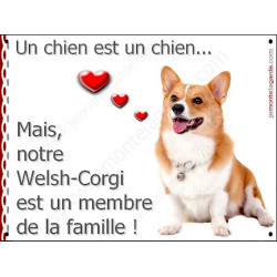 Plaque 16 cm LOVE Membre de la Famille, Welsh Corgi Assis