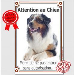 Berger Australien Bleu Merle, Plaque Portail Verticale Attention au chien, panneau pancarte interdit sans autorisation