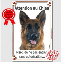 """Berger Allemand, plaque verticale """"Attention au Chien"""" 24 cm VLC"""