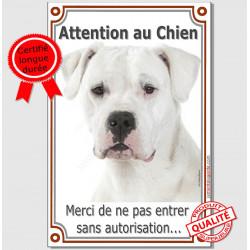 """Dogue Argentin Tête, plaque verticale """"Attention au Chien""""  24 cm LUX"""