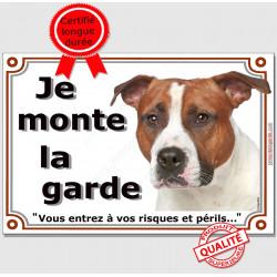 American-Staff Fauve, Plaque Je Monte la Garde, panneau pancarte affiche, amstaff, am, staff, risques périls photo