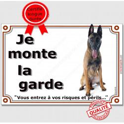 Berger Belge Malinois Assis, Plaque portail Je Monte la Garde, panneau affiche pancarte, risques périls photo