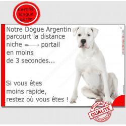 """Dogue Argentin Assis, plaque """"parcourt distance Niche - Portail"""" 24 cm"""
