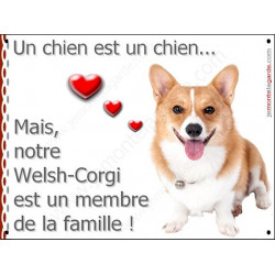Plaque 16 cm LOVE Membre de la Famille, Welsh Corgi face