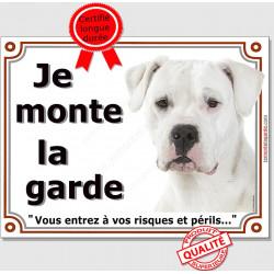 """Dogue Argentin Blanc Tête, plaque """"Je Monte la Garde"""" 2 tailles LUX B"""
