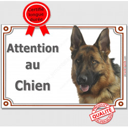 "Berger Allemand à poils courts Tête, plaque ""Attention au Chien"" pancarte panneau photo"