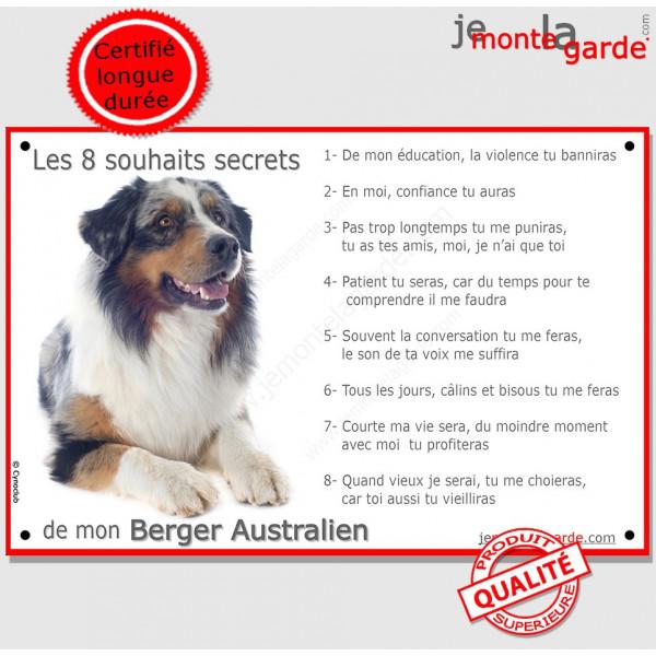 Berger Australien bleu Merle Couché, Plaque Portail Les 8 Souhaits Secrets, pancarte, affiche panneau, commandements éducation r