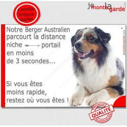 Berger Australien Bleu Merle couché, Plaque attention au chien humour distance niche-portail 3 secondes, pancarte drôle, affiche