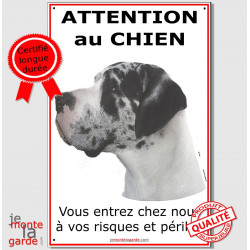 "Dogue Allemand Arlequin, plaque ""Attention au Chien"" 24 cm ECO"