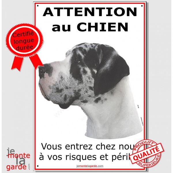 """Dogue Allemand Arlequin, Pancarte Portail """"Attention au Chien"""" plaque affiche pancarte, Danois photo"""