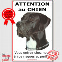 "Danois Noir, plaque verticale ""Attention au Chien"" 24 cm ECO"