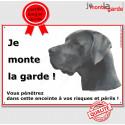 "Danois Bleu, plaque portail ""Je Monte la Garde"" 24 cm ECO"