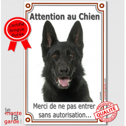 "Berger Allemand noir à Poils Courts, plaque portail verticale ""Attention au Chien, interdit sans autorisation"" pancarte photo"