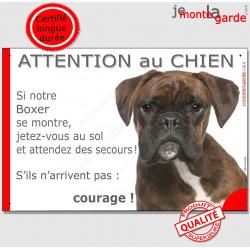 """Boxer bringé tête, plaque humour """" Attention au Chien, Jetez Vous au Sol"""" pancarte panneau photo drôle"""