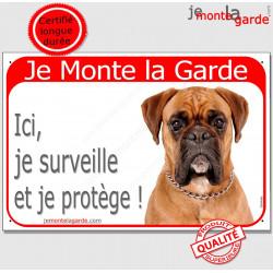 Boxer Fauve tête , Panneau Portail Je Monte la Garde, affiche plaque pancarte, je surveille et je protège ! attention au chien
