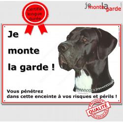 "Danois Noir, plaque portail ""Je Monte la Garde"" 24 cm ECO"