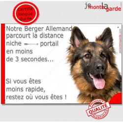 """Berger Allemand, plaque """"distance Niche - Portail"""" 24 cm"""