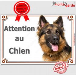 """Berger Allemand à poils longs Tête, plaque portail """"Attention au Chien"""" pancarte panneau photo"""