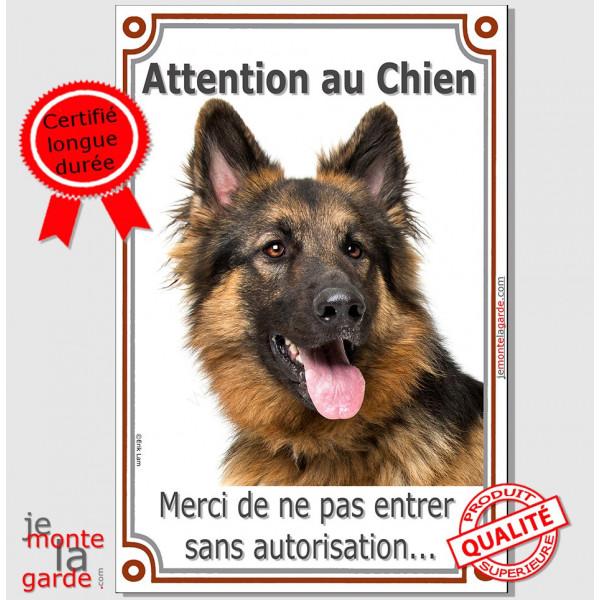 Berger Allemand Poils Longs, Plaque PORTAIL attention au chien, vertical panneau pancarte interdit sans autorisation