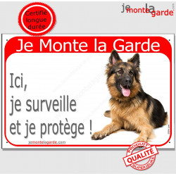 "Berger Allemand, plaque rouge "" Je Monte la Garde"" 2 Tailles RED A"