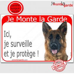 "Berger Allemand, plaque rouge ""Je Monte la Garde"" 24 cm RED"