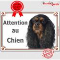 """Cavalier noir et feu, plaque """"Attention au Chien"""" 2 tailles LUX A"""