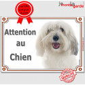"""Coton de Tuléar Tête, plaque """"Attention au Chien"""" 2 tailles LUX A"""