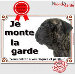 Bullmastiff Bringé Tête, Plaque portail Je Monte la Garde, panneau affiche pancarte, risques périls