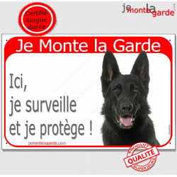 "Berger Allemand tête, plaque rouge ""Je Monte la Garde"" 24 cm RED"
