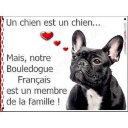 Plaque 2 Tailles LOVE Membre de la Famille, Bouledogue Français Bringé Tête