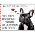 """Bouledogue Français Bringé Tête, plaque """"Membre de la Famille"""" 2 Tailles LOVE"""