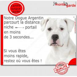 """Dogue Argentin, plaque """"parcourt distance Niche - Portail"""" 24 cm"""
