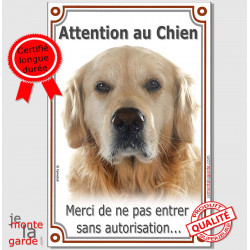 "Golden Retriever, plaque verticale ""Attention au Chien"" 24 cm"